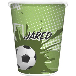 Soccer Waste Basket - Double Sided (White) (Personalized)