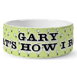 Golf Ceramic Dog Bowl (Personalized)