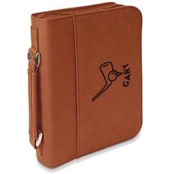 Golf Leatherette Bible Cover with Handle & Zipper - Large- Single Sided (Personalized)