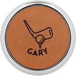 Golf Leatherette Round Coaster w/ Silver Edge - Single or Set (Personalized)