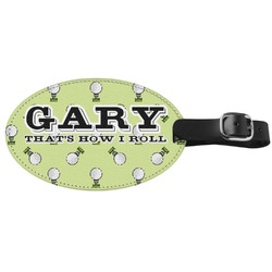 Golf Genuine Leather Oval Luggage Tag (Personalized)