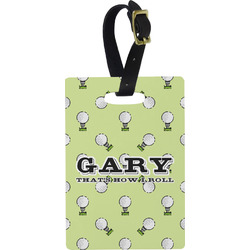 Golf Plastic Luggage Tag - Rectangular w/ Name or Text