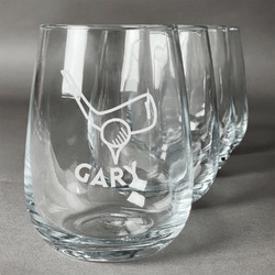 Golf Wine Glasses (Stemless Set of 4) (Personalized)
