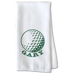 Golf Waffle Weave Kitchen Towel - Partial Print (Personalized)