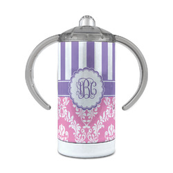 Pink & Purple Damask 12 oz Stainless Steel Sippy Cup (Personalized)