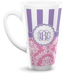 Pink & Purple Damask 16 Oz Latte Mug (Personalized)