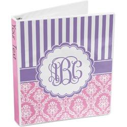 Pink & Purple Damask 3-Ring Binder (Personalized)