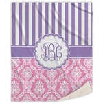 Pink & Purple Damask Sherpa Throw Blanket (Personalized)