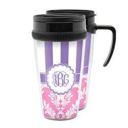 Pink & Purple Damask Acrylic Travel Mugs (Personalized)