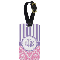 Pink & Purple Damask Aluminum Luggage Tag (Personalized)