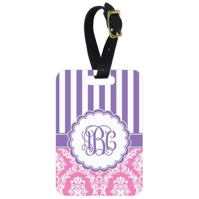 Pink & Purple Damask Metal Luggage Tag w/ Monogram