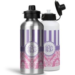 Pink & Purple Damask Water Bottles- Aluminum (Personalized)