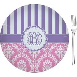 "Pink & Purple Damask 8"" Glass Appetizer / Dessert Plates - Single or Set (Personalized)"