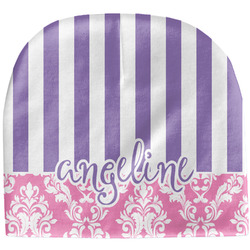 Pink & Purple Damask Baby Hat (Beanie) (Personalized)
