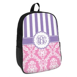 Pink & Purple Damask Kids Backpack (Personalized)