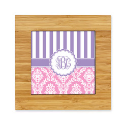 Pink & Purple Damask Bamboo Trivet with Ceramic Tile Insert (Personalized)