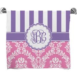 Pink & Purple Damask Full Print Bath Towel (Personalized)