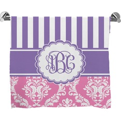Pink & Purple Damask Full Print Bath Towel (Personalized)