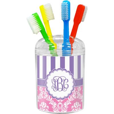Pink & Purple Damask Toothbrush Holder (Personalized)