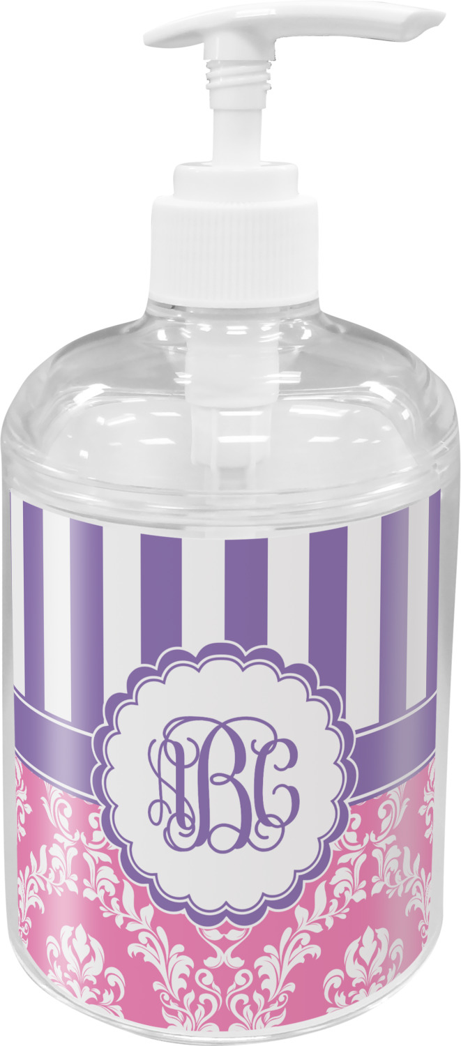 Pink & Purple Damask Bathroom Accessories Set (Personalized ...