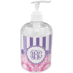 Pink & Purple Damask Soap / Lotion Dispenser (Personalized)