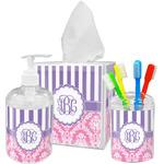 Pink & Purple Damask Acrylic Bathroom Accessories Set w/ Monogram