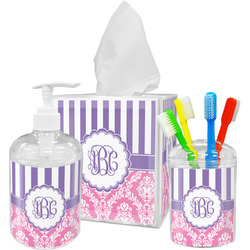 Pink & Purple Damask Bathroom Accessories Set (Personalized)