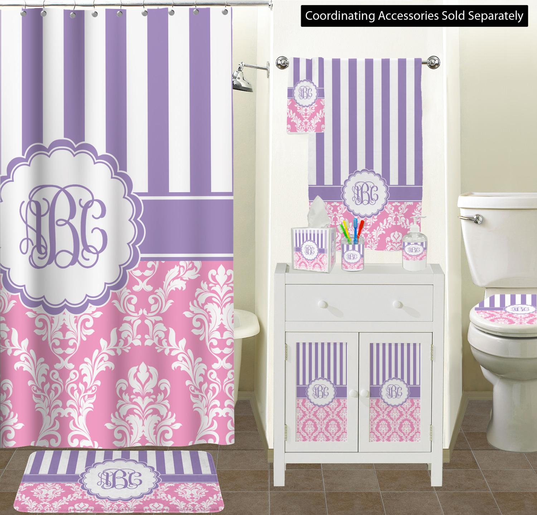 Pink Purple Damask Shower Curtain Personalized Youcustomizeit