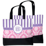 Pink & Purple Damask Beach Tote Bag (Personalized)