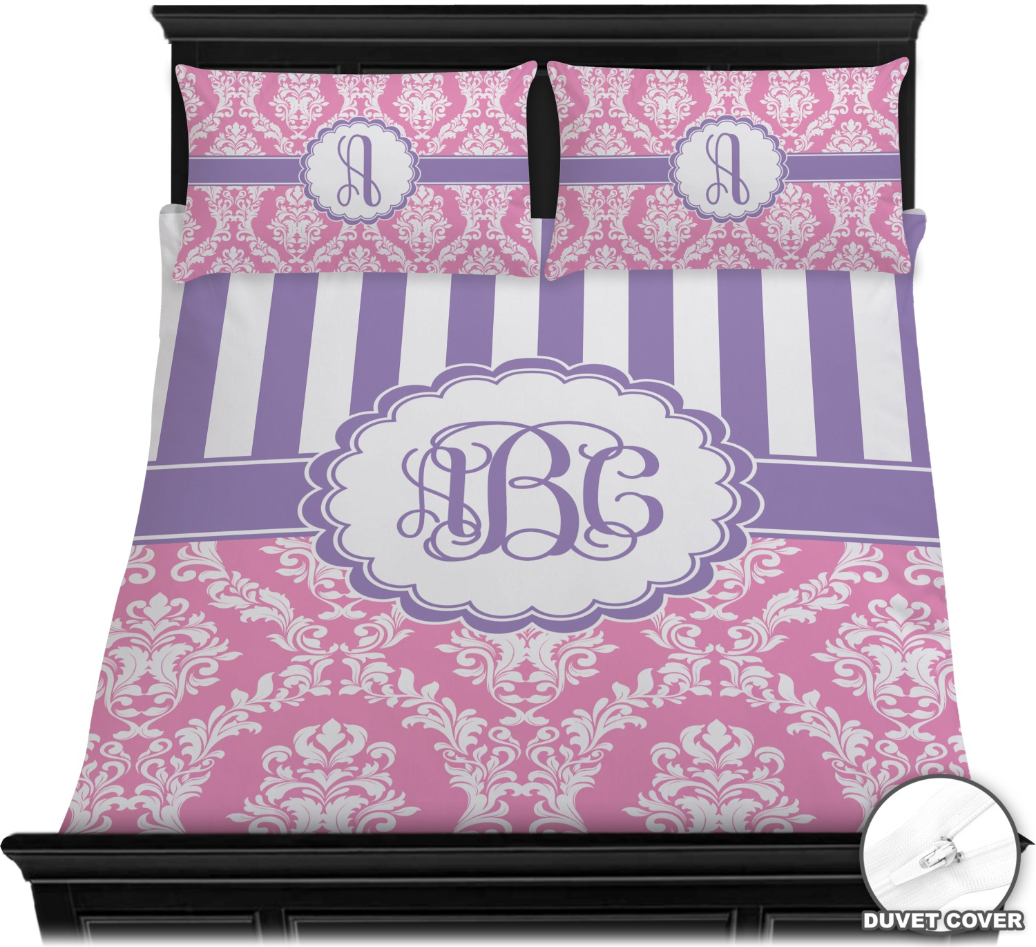 Pink Purple Damask Duvet Cover Set Personalized