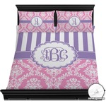 Pink & Purple Damask Duvet Cover Set (Personalized)
