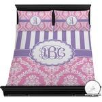Pink & Purple Damask Duvet Cover Set (Personalized)