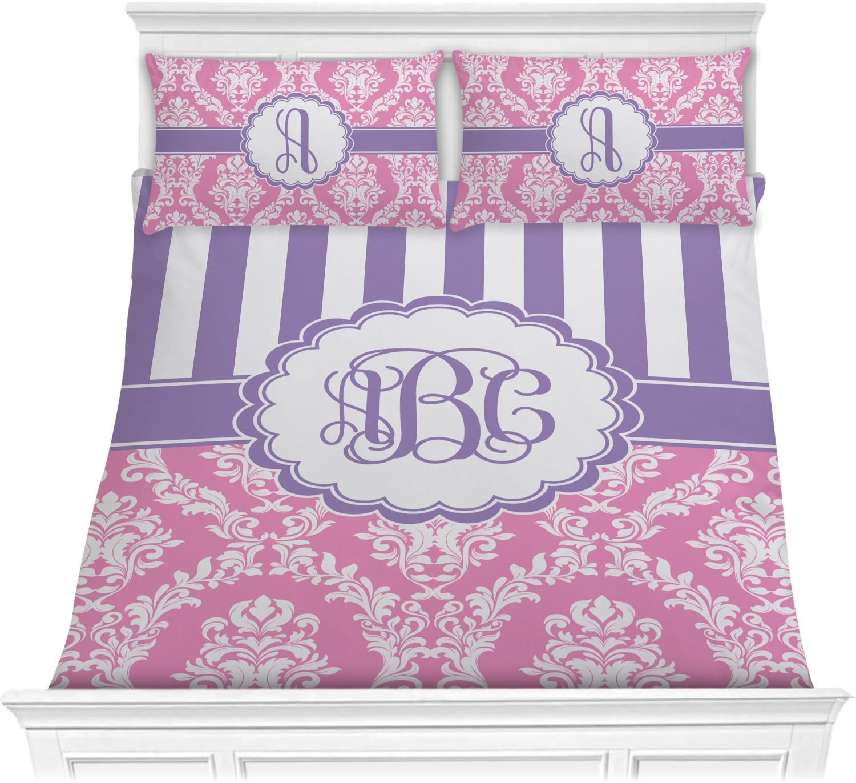 Pink purple damask comforter set full queen - Pink and purple comforter set ...