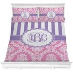 Pink & Purple Damask Comforter Set (Personalized)