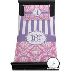 Pink & Purple Damask Duvet Cover Set - Toddler (Personalized)