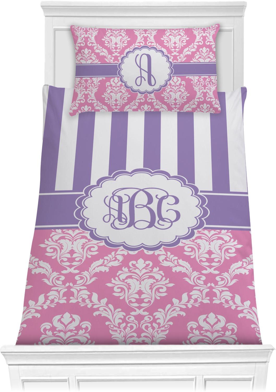 Pink & Purple Damask Comforter Set - Twin (Personalized ...