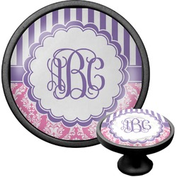 Pink & Purple Damask Cabinet Knob (Black) (Personalized)