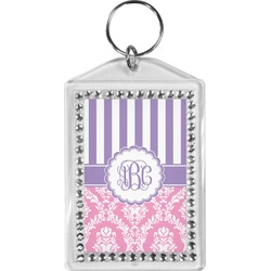 Pink & Purple Damask Bling Keychain (Personalized)