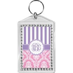 Pink & Purple Damask Bling Keychain (Personalized)