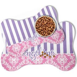 Pink & Purple Damask Bone Shaped Dog Food Mat (Personalized)