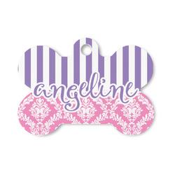 Pink & Purple Damask Bone Shaped Dog ID Tag (Personalized)