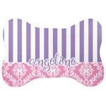 Pink & Purple Damask Bone Shaped Dog Food Mat (Personalized)