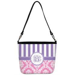 Pink & Purple Damask Bucket Bag w/ Genuine Leather Trim (Personalized)