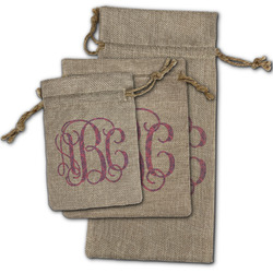 Pink & Purple Damask Burlap Gift Bags (Personalized)