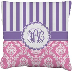 """Pink & Purple Damask Faux-Linen Throw Pillow 16"""" (Personalized)"""
