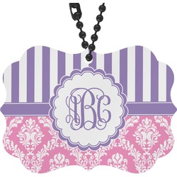 Pink & Purple Damask Rear View Mirror Decor (Personalized)