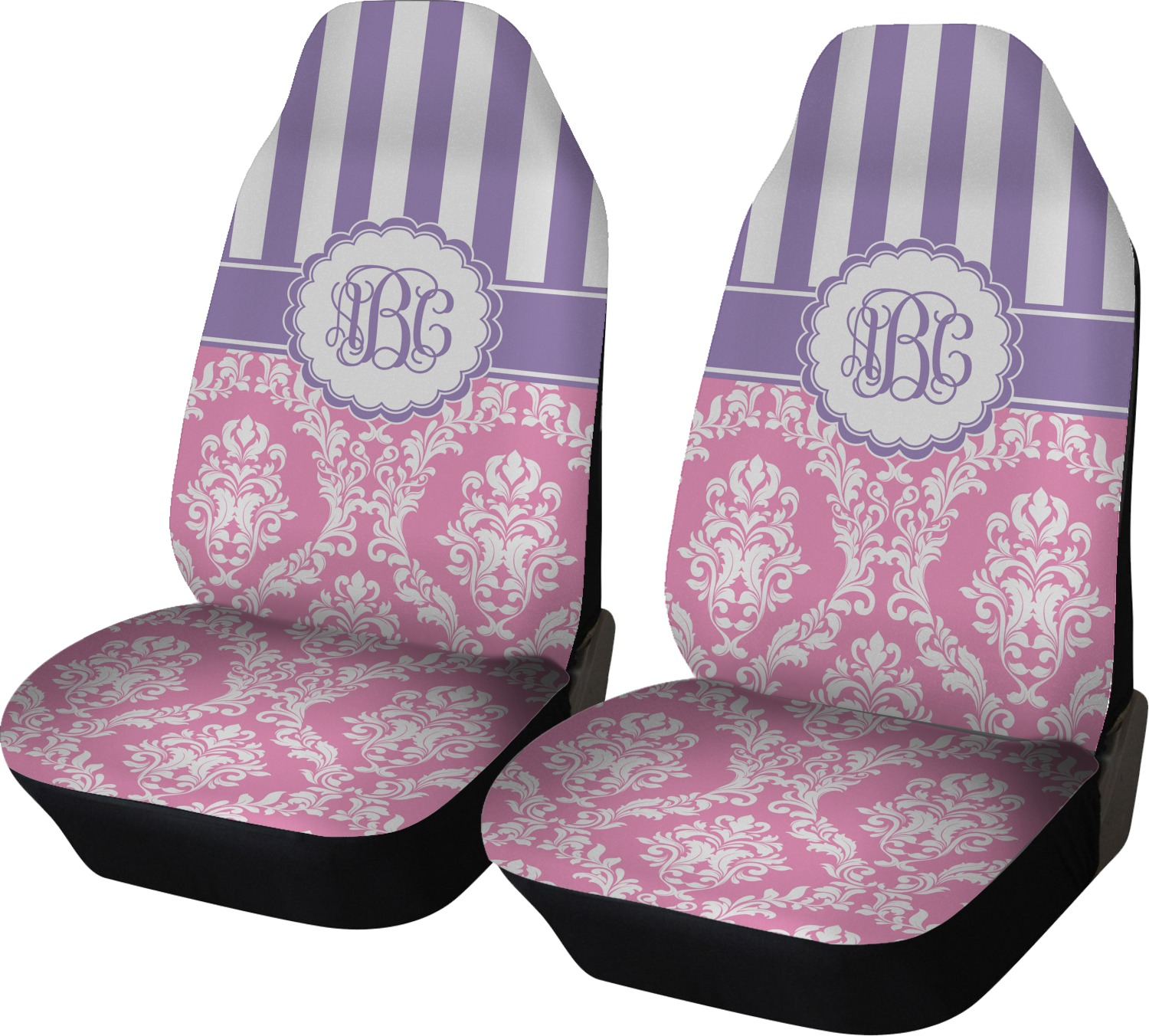 pink purple damask car seat covers set of two personalized youcustomizeit. Black Bedroom Furniture Sets. Home Design Ideas