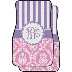 Pink & Purple Damask Car Floor Mats (Front Seat) (Personalized)