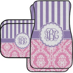Pink & Purple Damask Car Floor Mats (Personalized)