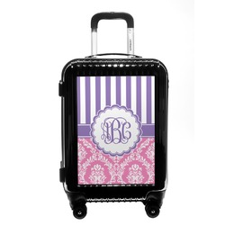 Pink & Purple Damask Carry On Hard Shell Suitcase (Personalized)